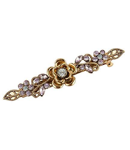 """SIX SALE """"Party"""" goldene Haarspange Haaklammer mit Blumen und Strass in blassem Lila & Blau (352-281)"""