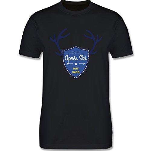 Après Ski - Mir nach Wappen mit Hirsch Geweih - Herren Premium T-Shirt Schwarz