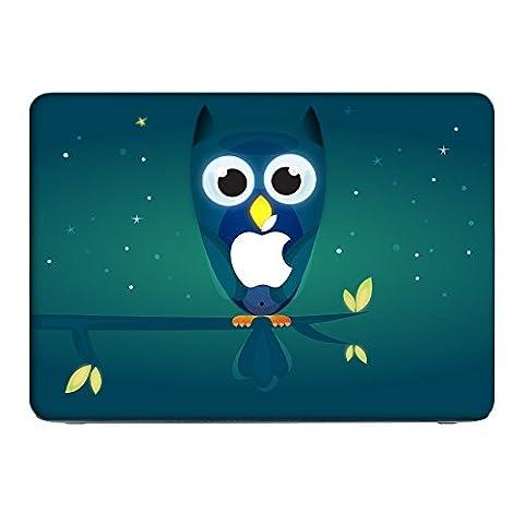 Eule 10006, Nachteule, Skin-Aufkleber Folie Sticker Laptop Vinyl Designfolie Decal mit Ledernachbildung Laminat und Farbig Design für Apple MacBook Air