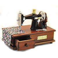 Patrón de máquina de coser vintage retro Caja de música con cajón Caja de música de madera a mano Regalos de madera creativos para el cumpleaños, ...