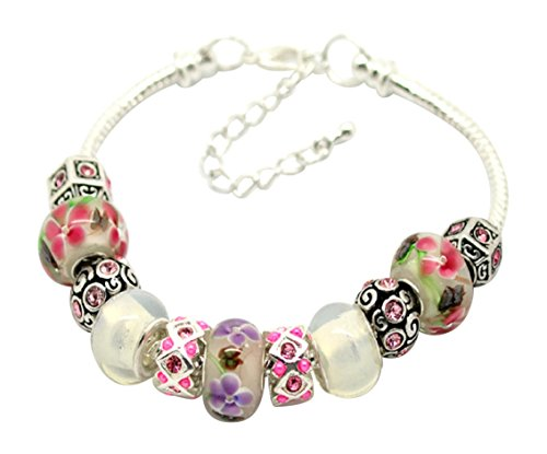 Beautiful Pink Glass Beads Bracelet with Gift Box by Libby's Market Place