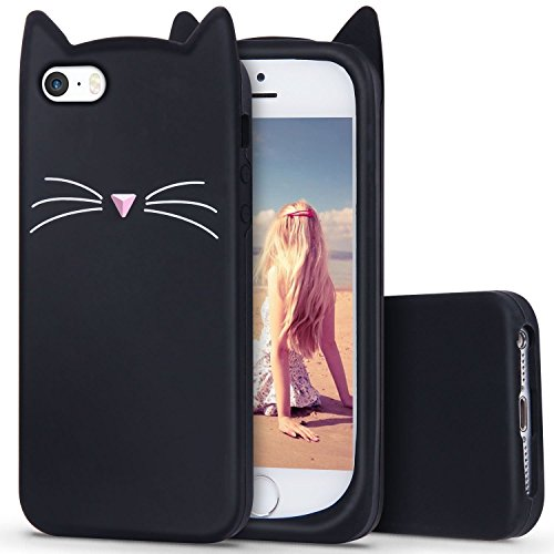 Tech Express 3D Cartoon Schutzhülle für Apple iPhone 7 Plus / 8 Plus, Bunte Flüssigkeit Comic Kawaii Animal Rainbow Soft Design [Dicke Silikonhülle] 7+/8+, Cat Ears -