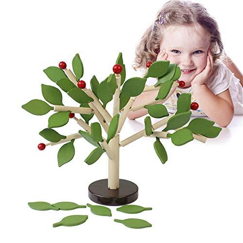 Chlyuan-toy Baustein Kinder pädagogische frühe Bildung Bausteine   aus Holz Kinderspielzeug Bann Einfügen Blatt Baum bewegen manuelle Gehirn pädagogisches Spielzeug für Jungen und Mädchen -