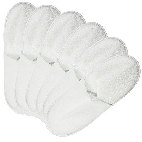 Com-Four Kit de 6pièces éponge Slipper, Chaussons fermé en blanc, dans différentes tailles, 06 Paar weiß - 44/45, 44 EU 06 Paar weiß - 42/43