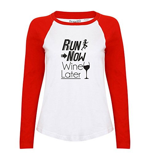 Brand88 - Run Now Wine Later, Damen Langarm Baseball T-Shirt Weiss & Rot