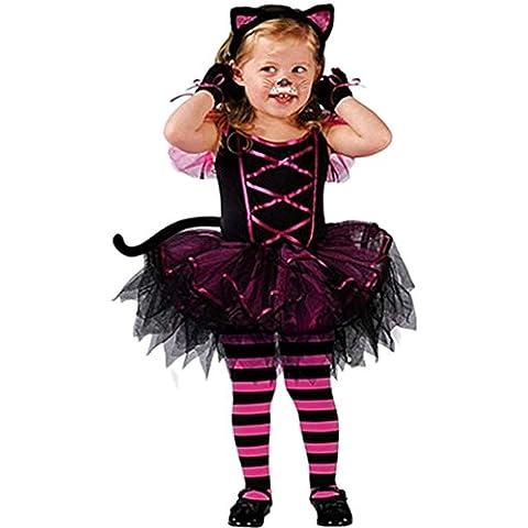 Happy Cherry Disfraz Cosplay Infantil de Gato Vestido Disfraces Costume para 5 - 7 Años Niñas Halloween Carnaval Fiesta Cumpleaños Talla