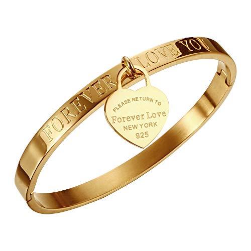 Titanium Steel Forever Love cuore tag bracciale e Acciaio inossidabile, colore: Gold, cod. SteelForeverLoveBraceletGold
