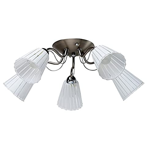 Sleek modern low ceiling chandelier in art-deco style satin nickel metal colour compact size for a kitchen living room or bedroom downlight matt white striped glass shades easy fit 5 barms 5*60W E14 230V