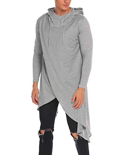 MAXMODA Herren Kapuzenpullover Hoodie Sweatshirt Langarm Poncho Cape Casual Freizeit Kittel mit Rundhals Grau L