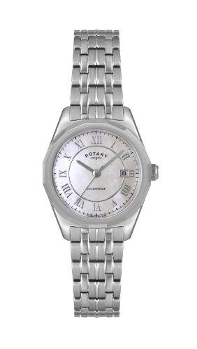 Rotary LB02225/07 - Reloj analógico de cuarzo para mujer, correa de acero inoxidable color plateado