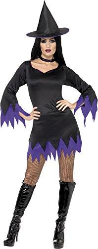 (Smiffys, Damen Hexen Kostüm, Kleid, Hut und Halsband, Größe: L, 32367)