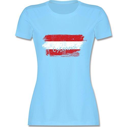 Länder - Österreich Vintage - XL - Hellblau - L191 - Damen T-Shirt Rundhals