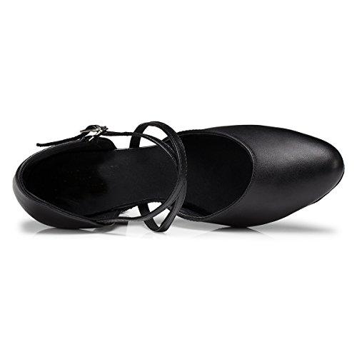 Minitoo L188- Scarpe da ballo, da donna, con nastro incrociato sul davanti, per balli latini e salsa, in pelle Black-8cm Heel