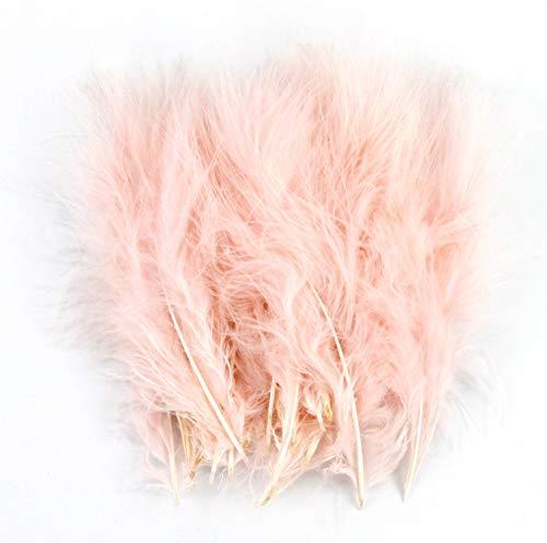 PANAX Echter hochwertiger Truthahnflaum in Pfirsich Hellapricot - 100 Stück mit ca. 10-17cm Federnlänge, Basteln, Kostüme, Fasching, Karneval, Dekoration