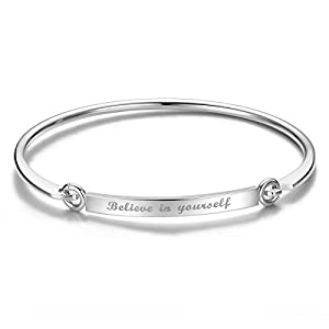 "SHEGRACE Bracciale da Donna Incisione""Believe in yourself"" -""Credi sempre in te stessa"" 18K Oro Rosa Silver Oro Placcato, 185mm"