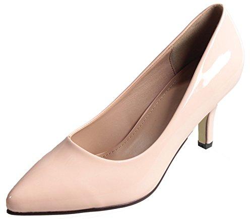 AgeeMi Shoes Damen Spitz Schließen Zehe PU Rein Stiletto High Heels Pumps,EuD07 Aprikosen Farbe 37
