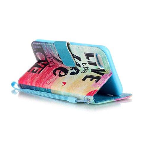 Coloré Motif PU Cuir portefeuille Housse Etui pour iPhone 7 (4,7 pouces) Case Coque Protection Flip Cover avec carte de crédit Slots (Y01#) Y13#