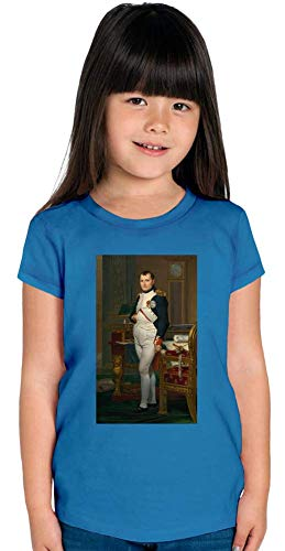 Top Paintings of All Time Jacques-Louis David - The Emperor Napoleon Painting Stylish T-Shirt for Girls Fashion Fit Kids Printed Clothes by 12/14 Yrs - Napoleon Top