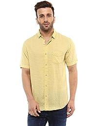 Mufti Button Down Checkes Yellow Half Sleeves Shirt