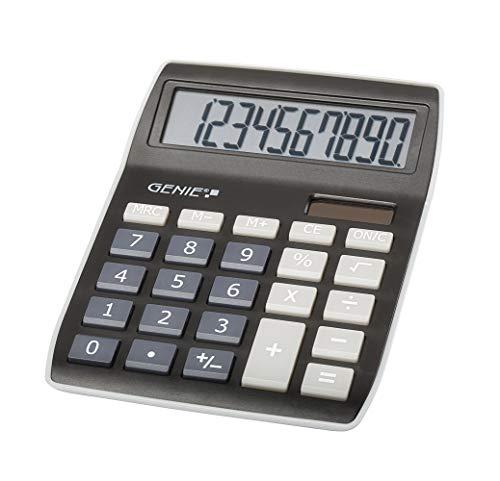 Genie 840 BK 10-stelliger Tischrechner, Dual-Power (Solar und Batterie) 5 Stück, kompaktes Design, schwarz