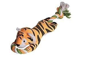 Pro Goleem Mignonne Peluche Farci Animal Chiens Jouet à mâcher pour Tir à la corde Avec une corde de coton tressée, Tigre Jouets pour chiens pour les grands animaux de compagnie