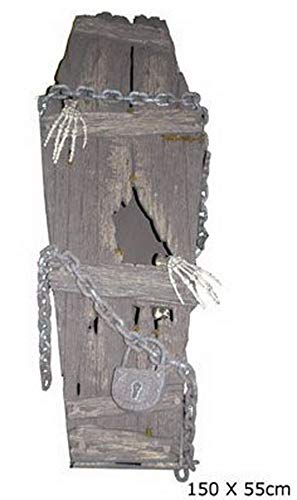 Whity Whiteman - Halloween Dekoration, Deko Alter staubiger Sarg mit Skelett Händen, 153cm, Old Coffin with Skeleton Bones, ideal für Jede Halloween Party / Feier, Grau