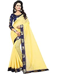 Vastrang Women's Chanderi Cotton Saree With Blouse Piece(1311HATYLW_Light Yellow_Free Size)