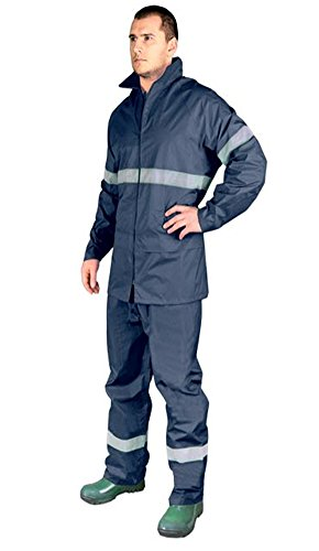 NAVY Hi Vis Rain Suit New Waterproof Jacket Trousers Set Mens Rain Coat Hi Visibility 1