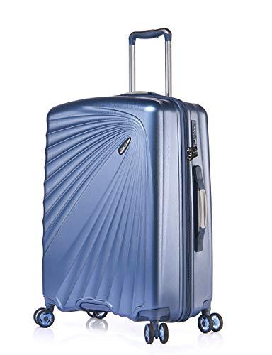 Verage Kinetic Leichter Hartschalen-Koffer (M-66cm-84 Liter, Metallic Blau), TSA integriert, 4 Rollen ABS/PC Trolley mit Sicherheits-Reißverschluss
