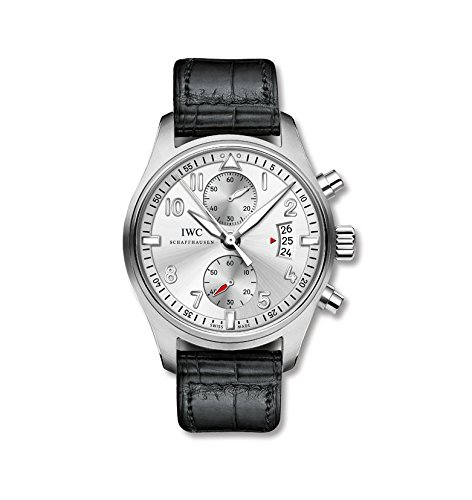 IWC Pilot Spitfire Silver Dial Chronograph Black Alligator Leather Mens Watch IW387809