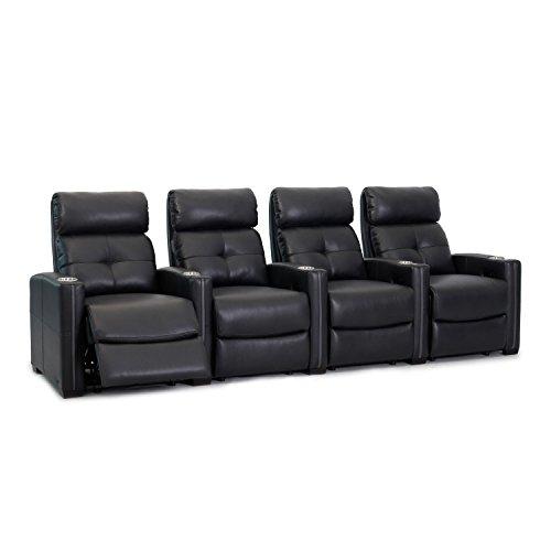 Octane Seating Cloud XS850 |Fila 4 sillas de teatro |Rich Black Bonded Leather |Chaise Reposapiés |Soporte lumbar |Accesorio Dock |Pies de madera exprés |Portavasos extraíbles de metal