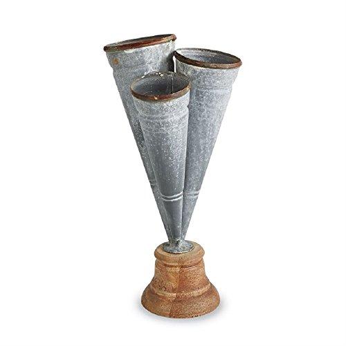 Mud Pie Kleine kegelförmige 26,7x 12,7cm Dose Triple Vase Terrasse Rasen und Garten X -