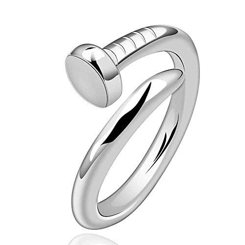 Versilbert Nagel Ring Größe 18 (De) 8 (Us) Einstellbare Öffnen Spitze Tack Damen Herren Bae (Ring Nagel)