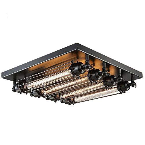 Square Deckenlampe Industrielle Vintage Deckenleuchten Bar Loft Esstischlampe Deckenbeleuchtung, Schwarz Eisen Wohnzimmerleuchte Arbeitszimmerlampe Deckenbeleuchtung E27*4 Flute light Ø45CM -