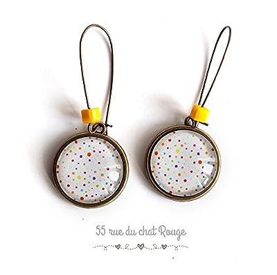 Boucles d'oreilles cabochon, Petits pois multicouleur, perle jaune, coloré,
