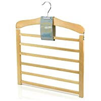 Hangerworld Premium Quality 6 Tier Wooden Trouser Bar Clothes Hanger - Holds 6 Pairs of Trousers (Single Item)