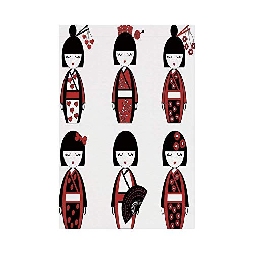 Liumiang Eco-Friendly Manual Custom Garden Flag Demonstration Flag Game Flag,Girls,Unique Asian Geisha Dolls in Folkloric Costumes Outfits Hair Sticks Kimono Art Image,Black Rede d¨¦COR