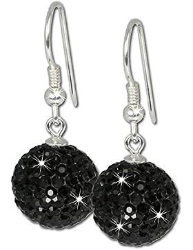 SilberDream Glitzer Ohrhänger Silber Swarovski Kristalle schwarz Ohrringe GSO206