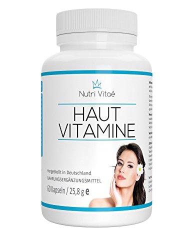 Nutri Vitae - Haut Vitamine Kapseln für eine schöne Haut + Biotin,OPC, Vitamin B2, Vitamin A und Zink, 60 Kapseln