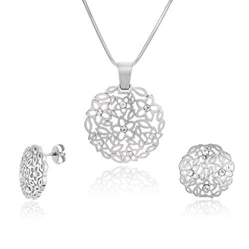 Lillymarie donne parure gioielli argento vero ciondolo fiore swarovski elements originali lunghezza regolabile scatola regalo in legno di alta qualità per il migliore amico compleanno