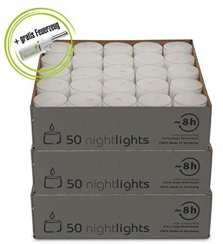 DecoLite: 150 Teelichter Nightlights von Wenzel mit transparenter Hülle - 7-8 Stunden Brenndauer inkl. Kerzenprofi Stabfeuerzeug