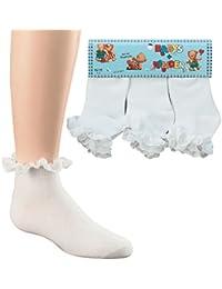 7 Gr/ö/ßen 6 Paar M/ädchen Jolie Fille R/üschen Spitze Schule Ankle Wei/ß Socken