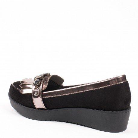 Ideal Shoes - Mocassins bi-matière à franges et décorés de strass Tiha Noir