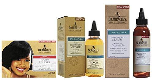 Dr. Miracles No Lye Super Relaxer Kit Tägliches Feuchtigkeitsspendendes Gro Oil 118 ml & Intensive Spot Serum 113 ml -