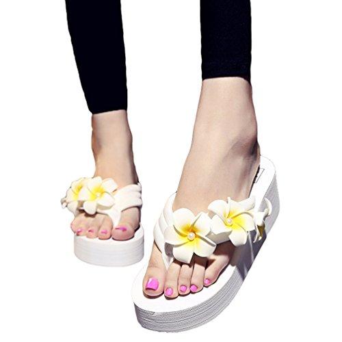 YOUJIA Femmes Boho Fleurs Tongs été Plage Compensées Plateforme Sandales #6 Blanc