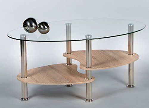 Couchtisch Panty 16777 Wohnzimmertisch Tisch Glastisch Eiche Sonoma