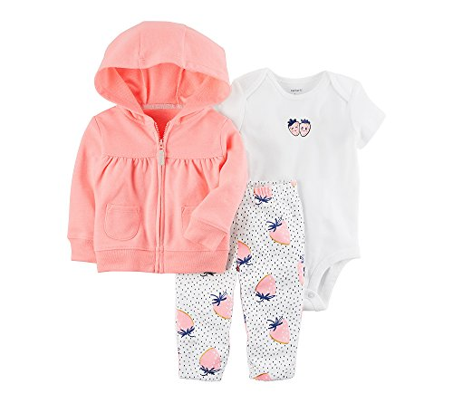 CARTER´S 3-tlg. Set Sweatjacke, Body kurzarm und Leggings Erdbeere rosa 68 (Carters Baby-tasche)