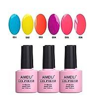 AIMEILI Soak Off UV LED Gel Nail Polish Multicolour/Mix Colour/Combo Colour Set Of 6pcs X 10ml