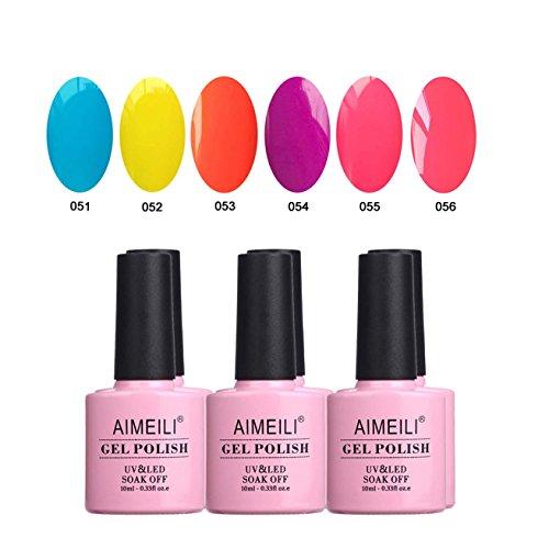 AIMEILI UV LED Gellack mehrfarbig ablösbarer Gel Nagellack Neon Gel Polish Set Kit - 6 x 10ml - Set Nummer 11 (Neon Nail Polish Kit)