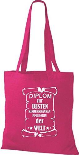 Shirtstown Stoffbeutel Diplom zur besten Kinderkrankenpflegerin der Welt Pink